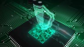 Processador central a bordo com holograma do protetor imagens de stock royalty free