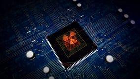 Processador central a bordo com holograma nucelar do s?mbolo do perigo ilustração do vetor