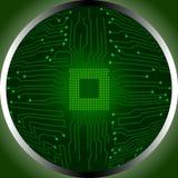 Processador central da placa de circuito na circunferência Fotos de Stock Royalty Free