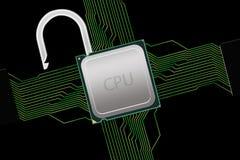 Processador central destravado com conexões do circuito Fotos de Stock