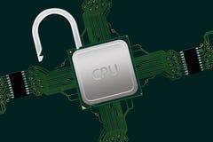 Processador central destravado dentro do circuito Fotografia de Stock