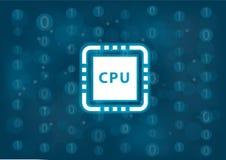 Processador central e conceito do desempenho para computadores e dispositivos móveis como ilustração do vetor