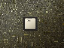 Processador central na placa de circuito Fotografia de Stock Royalty Free