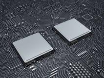Processador central na placa de circuito Foto de Stock
