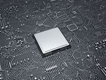 Processador central na placa de circuito Fotos de Stock