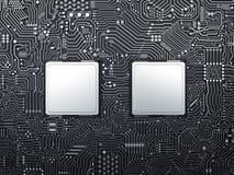 Processador central na placa de circuito Imagem de Stock
