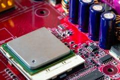 Processador central no cart?o-matriz imagens de stock