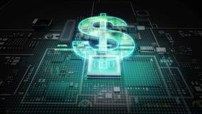 Processador central no sinal de DÓLAR do holograma, moeda da libra, conceito econômico financeiro do mercado de Digitas ilustração do vetor