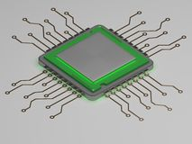 Processador central realístico com fulgor verde 3d rendem Imagem de Stock Royalty Free