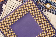 Processador Chip On Motherboard do computador imagens de stock royalty free