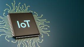 Processador do computador de IoT, Internet do conceito das coisas Ilustração Royalty Free