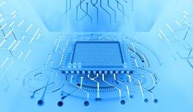 Processador do futuro Conceito do Cyberspace global Inovações na nanotecnologia do computador ilustração do vetor
