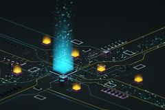 Processador e dados Imagens de Stock