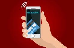 Processamento da ilustração móvel do vetor dos pagamentos Fotografia de Stock Royalty Free