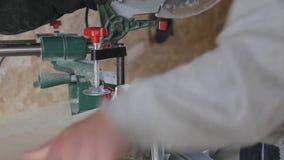 Processamento da madeira na oficina video estoque