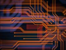 Processamento de código futurista do servidor da placa de circuito Fundo alaranjado, verde, azul da tecnologia com bokeh ilustraç Fotos de Stock Royalty Free