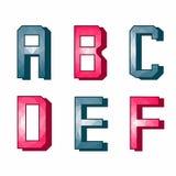 Processamento original das primeiras seis letras do alfabeto Imagens de Stock Royalty Free