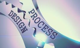 Processdesign på mekanismen av skinande metallkugghjul 3d Royaltyfri Bild