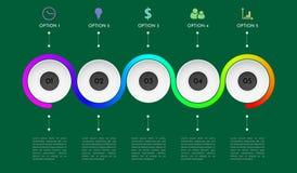 Processdiagram Affärsdata Abstrakt beståndsdel av diagrammet, graf, diagram med 5 moment, alternativ, delar, processar Affär Royaltyfri Fotografi