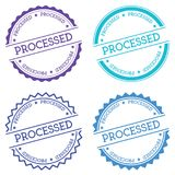 Processed badge isolated on white background. Flat style round label with text. Circular emblem vector illustration royalty free illustration