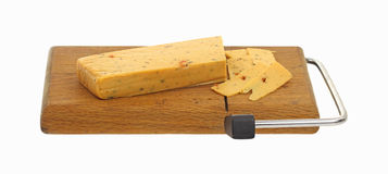 Processed Cheese Slices Cutting Board Royalty Free Stock Photos