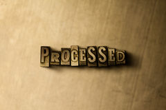 PROCESSED - close-up of grungy vintage typeset word on metal backdrop. Royalty free stock illustration. Can be used for online banner ads and direct mail stock illustration