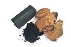Charcoal from coconut shell. Processed coconut shell sticks.Charcoal from coconut shell royalty free stock photos