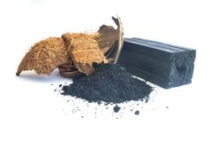 Charcoal from coconut shell. Processed coconut shell sticks.Charcoal from coconut shell royalty free stock images