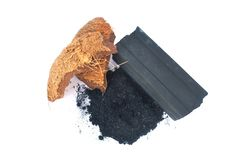 Charcoal from coconut shell. Processed coconut shell sticks.Charcoal from coconut shell royalty free stock photography