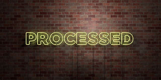 PROCESSED - fluorescent Neon tube Sign on brickwork - Front view - 3D rendered royalty free stock picture. Can be used for online banner ads and direct mailers stock illustration