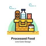 Processed Foods Line Color Icon. Processed foods in the basket In Line Color Design illustration stock illustration
