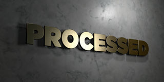 Processed - Gold text on black background - 3D rendered royalty free stock picture. This image can be used for an online website banner ad or a print postcard stock illustration