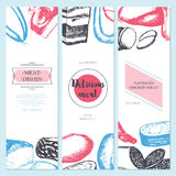 Processed Meat - hand drawn template banner. Processed Meat - color vector hand drawn template banner with copy space. Realistic boiled, smoked, summer sausage vector illustration