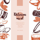 Processed Meat - vector hand drawn banner template. Processed Meat - color vector hand drawn vintage banner template with copy space. Realistic boiled, smoked royalty free illustration