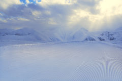 Processed snowcat track, stripes on snow Royalty Free Stock Photos