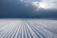 Processed snowcat track   stripes on snow Royalty Free Stock Photos
