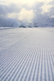 Processed snowcat track, stripes on snow Royalty Free Stock Photography