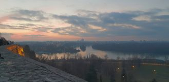 Belgrade Skyline view from Kalemegdan fortress royalty free stock photos