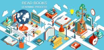 Processen av utbildning, begreppet av att lära och läseböcker i arkivet och i klassrumet royaltyfri illustrationer