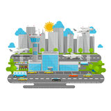 Processes airport flat city Royalty Free Stock Photo