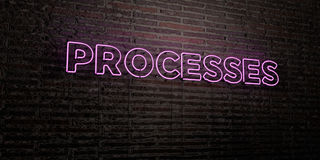 PROCESSES -Realistic Neon Sign on Brick Wall background - 3D rendered royalty free stock image. Can be used for online banner ads and direct mailers Royalty Free Stock Image