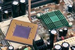 Processeur Chip On Motherboard d'ordinateur image stock