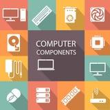 Processeur d'ensemble d'icône de composants de l'ordinateur, carte mère, RAM, carte vidéo, refroidisseur illustration stock