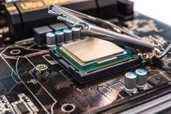Processeur d'ordinateur d'installation dans la prise Photos stock