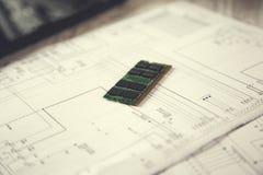 Processeur de vert de puce photographie stock