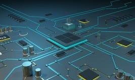 Processeur multinucléaire sur un circuit intégré Trains de données de données Lignes au néon Circuits intégrés Chips RAM Image stock