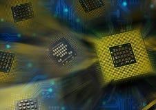 Processeurs d'ordinateur au-dessus de circuit électronique bleu avec le postproduction d'effets de la lumière photos libres de droits