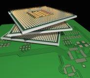 Processeurs sur la carte. Photo stock