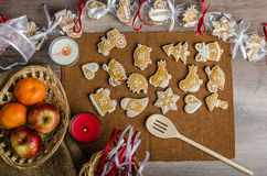Processing of gingerbread advent calendar Stock Image