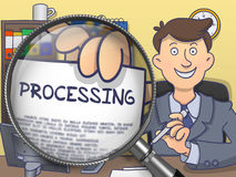 Processing through Magnifying Glass. Doodle Concept. Royalty Free Stock Images